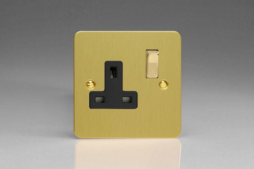 XFB4DB Varilight 1 Gang (Single), 13 Amp Switched Socket, Ultra Flat Brushed Brass Effect
