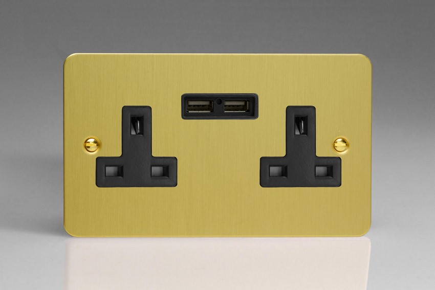 XFB5U2B Varilight 2 Gang, 13 Amp Unswitched Socket with 2 Optimised USB Charging Ports, Black Insert. Ultra Flat Brushed Brass Effect