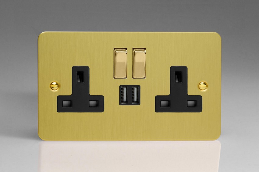 XFB5U2SDB Varilight 2 Gang 13A Single Pole Switched Socket + 2 x 5V DC 2100mA USB Charging Ports, Black Insert & Polished Brass Switches. Ultra Flat Brushed Brass Effect