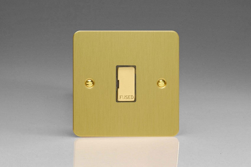 XFB6UD Varilight 1 Gang (Single), 13 Amp Unswitched Fused Spur, Ultra Flat Brushed Brass Effect