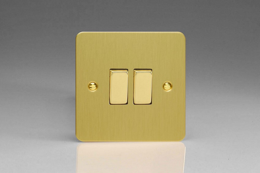 XFB77D Varilight 2 Gang (Double), (3 Way) Intermediate 10 Amp Switch, Ultra Flat Brushed Brass Effect