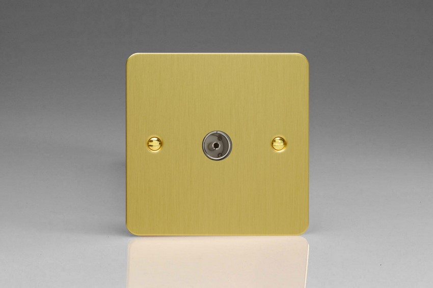 XFB8 Varilight 1 Gang (Single), Co-axial TV Socket, Ultra Flat Brushed Brass Effect
