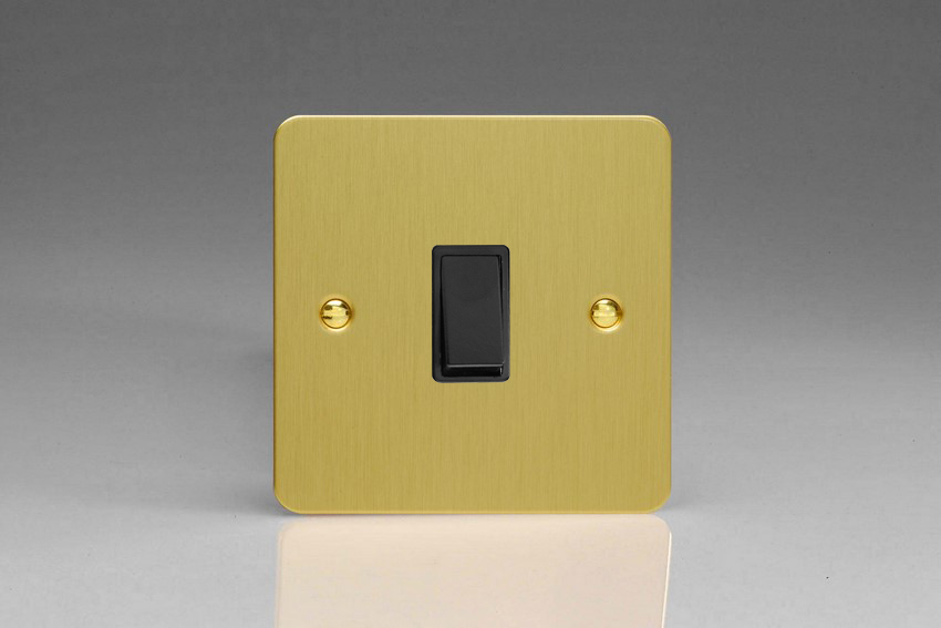 XFBBPB Varilight 1 Gang (Single), 1 Way, 10 Amp Retractive Switch (Bell and Blind Switch), Ultra Flat Brushed Brass Effect