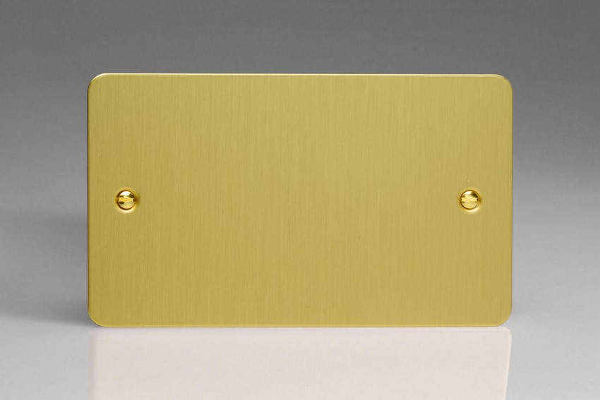 XFBDB Varilight 2 Gang (Double), Blank Plate, Ultra Flat Brushed Brass Effect (Double Plate)