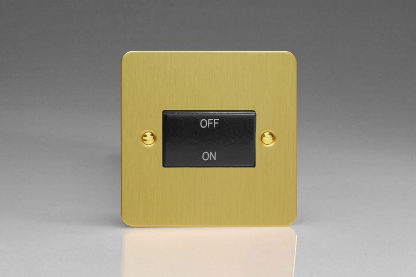 XFBFIB Varilight 10 Amp Fan isolating Switch (3 Pole), Ultra Flat Brushed Brass Effect