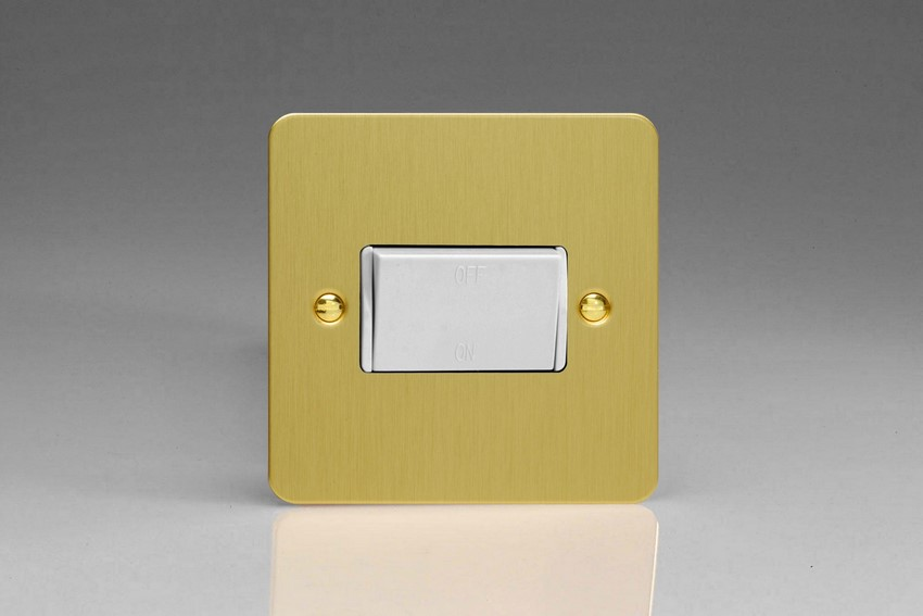 XFBFIW Varilight 10 Amp Fan isolating Switch (3 Pole), Ultra Flat Brushed Brass Effect