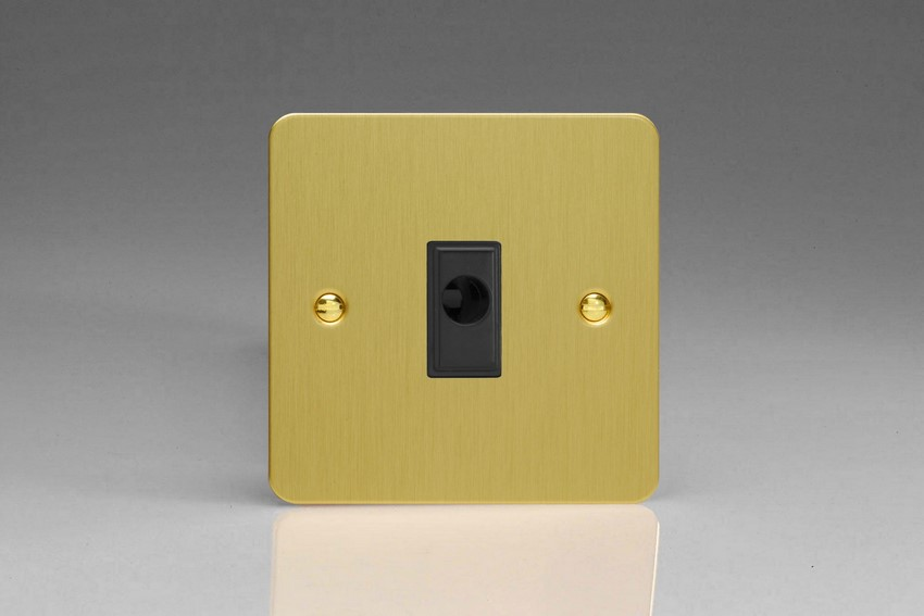 XFBFOB Varilight Flex Outlet Plate with Cable Clamp. Black insert, Ultra Flat Brushed Brass Effect