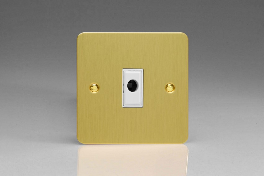 XFBFOW Varilight Flex Outlet Plate with Cable Clamp. White insert, Ultra Flat Brushed Brass Effect