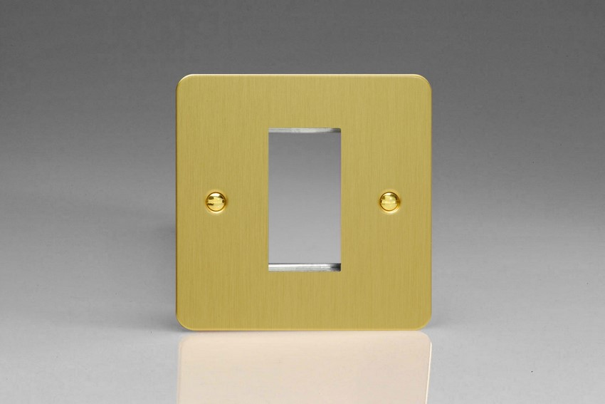 XFBG1 Varilight Single Size Data Grid Face Plate For 1 Data Module Width, Ultra Flat Brushed Brass Effect
