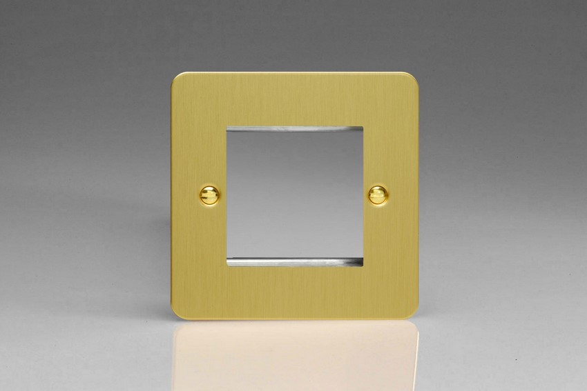 XFBG2 Varilight Single Size Data Grid Face Plate For 2 Data Modules, Ultra Flat Brushed Brass Effect