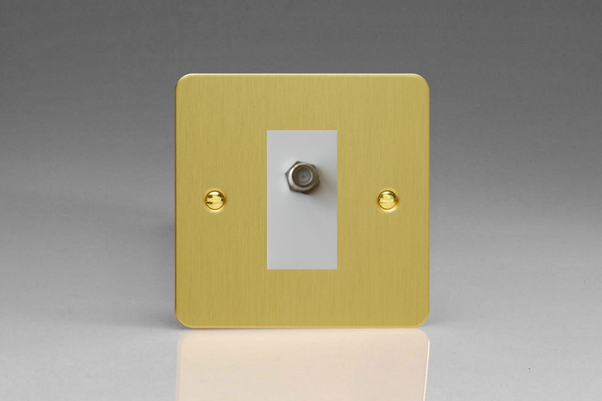 XFBG8SW Varilight 1 Gang (Single), Satellite TV Socket, Ultra Flat Brushed Brass Effect with White insert