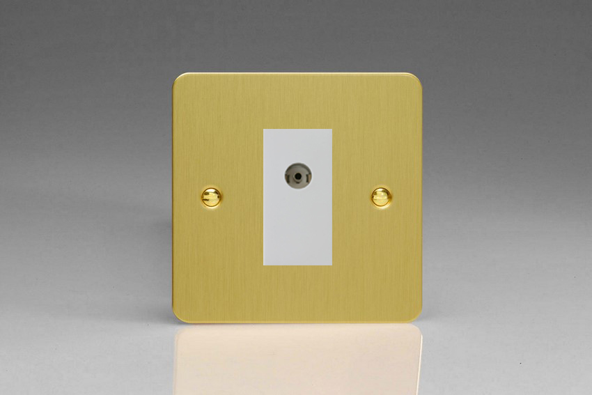 Varilight 1 Gang White Co-axial TV Socket Ultra Flat Brushed Brass