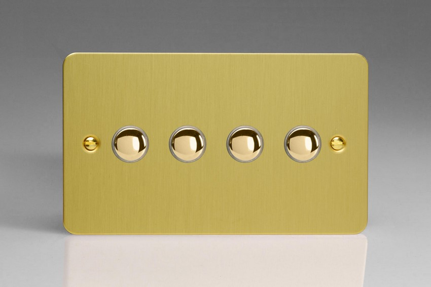 XFBM4 Varilight 4 Gang (Quad), 1 Way, 6 Amp Retractive/Momentary Switch (Push To Make), Ultra Flat Brushed Brass Effect
