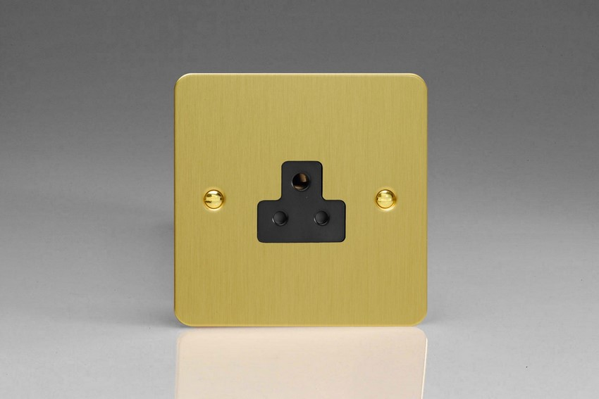 XFBRP2AB Varilight 1 Gang (Single), 2 Amp Round Pin Socket, Ultra Flat Brushed Brass Effect