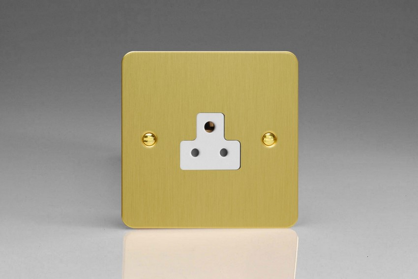 XFBRP2AW Varilight 1 Gang (Single), 2 Amp Round Pin Socket, Ultra Flat Brushed Brass Effect