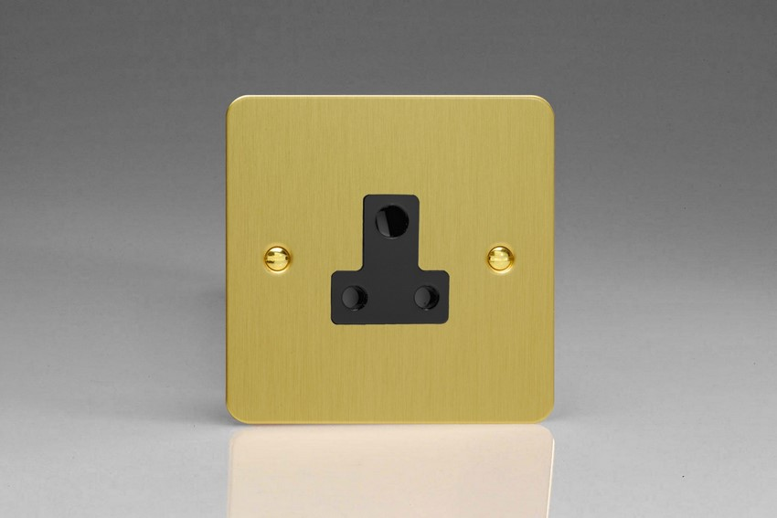 XFBRP5AB Varilight 1 Gang (Single), 5 Amp Round Pin Socket, Ultra Flat Brushed Brass Effect