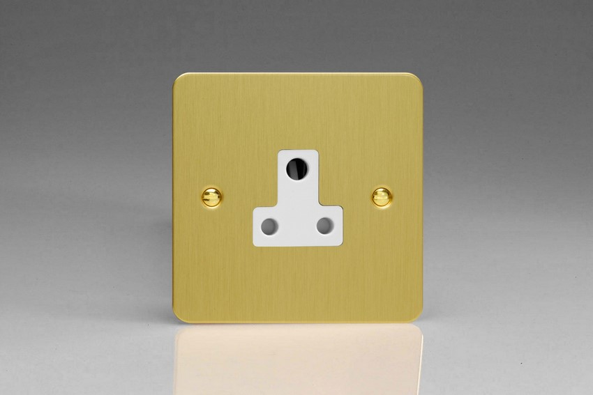 XFBRP5AW Varilight 1 Gang (Single), 5 Amp Round Pin Socket, Ultra Flat Brushed Brass Effect