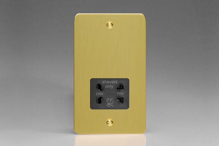 XFBSSB Varilight Dual Voltage Shaver Socket, Ultra Flat Brushed Brass Effect