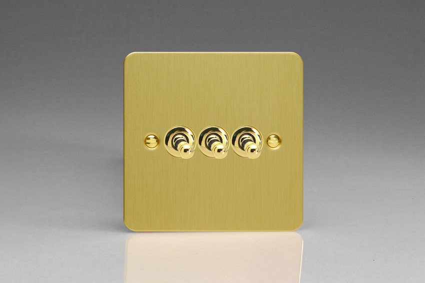XFBT3 Varilight 3 Gang (Triple), 1 or 2 Way 10 Amp Classic Toggle Switch, Ultra Flat Brushed Brass Effect