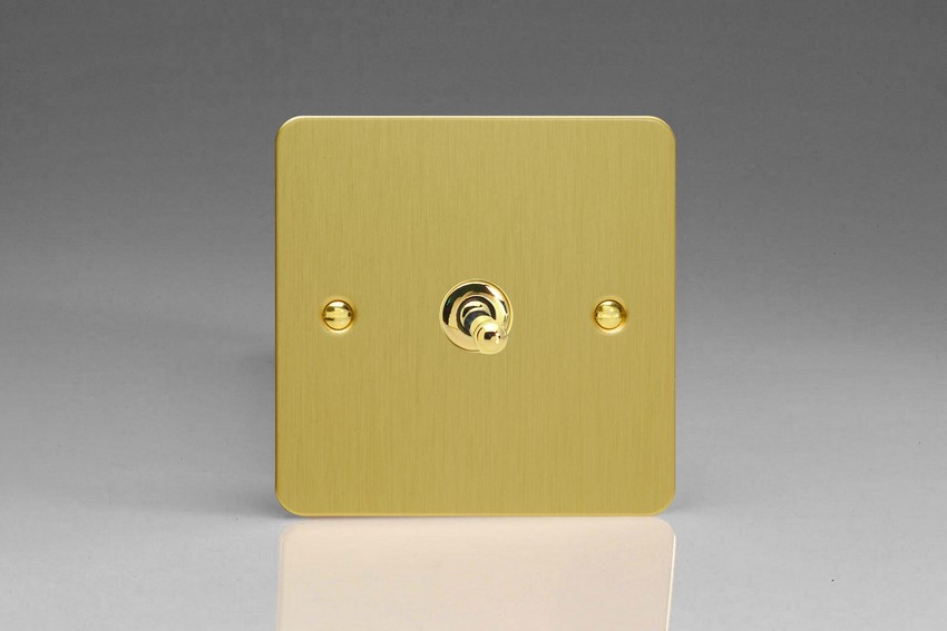 XFBT7 Varilight 1 Gang (Single), (3 Way) intermediate Classic Toggle Switch, Ultra Flat Brushed Brass Effect
