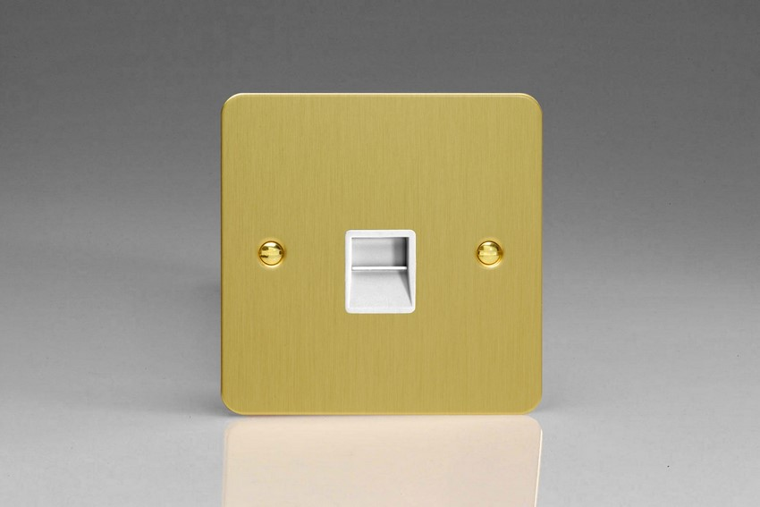 XFBTMW Varilight 1 Gang (Single), Telephone Master Socket, Ultra Flat Brushed Brass Effect