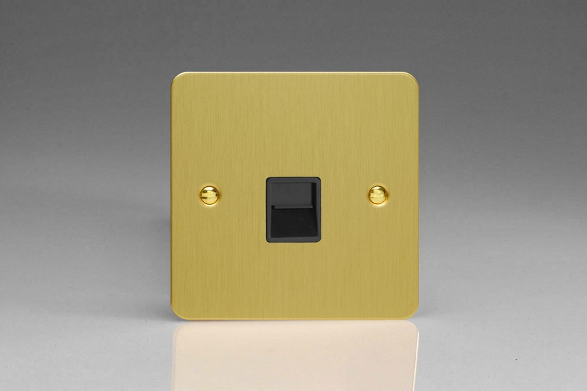 XFBTSB Varilight 1 Gang (Single), Telephone Slave Socket, Ultra Flat Brushed Brass Effect