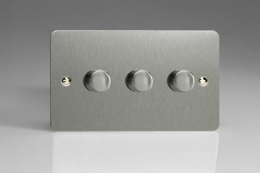 Varilight JFSDP303, V-Pro Series, 3 Gang, 1 or 2 Way, Push-On/Off Rotary LED Dimmer 3 x 0-120W (1-10 LEDs) (Twin Plate), Ultra Flat Brushed Steel