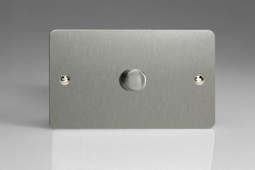 IFSDP1001 Varilight V-Plus Series 1 Gang 1 or 2 Way 1000 Watt/VA Dimmer on a Double Plate, Ultra Flat Brushed Steel