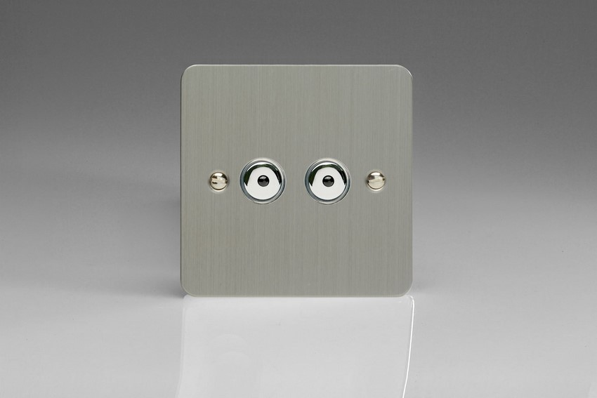 Varilight V-Pro IR Series 2 Gang 0-100 Watts Master Trailing Edge LED Dimmer Ultra Flat Brushed Steel