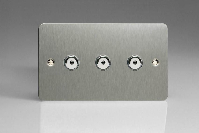 IJFSI103 Varilight V-Pro IR Series, Intelligent Programmable Master Dimmer, with Touch Sensitive Button and Centralised Remote Control Sensor - 3 gang, 0-100 Watts of LEDs, Ultra Flat Brushed Steel