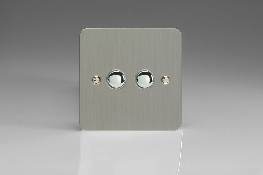 IJFSS002 Varilight V-Pro IR Series, 2 Gang Tactile Touch Button Slave Unit for 2 way or Multi-way Circuits Only, Ultra Flat Brushed Steel