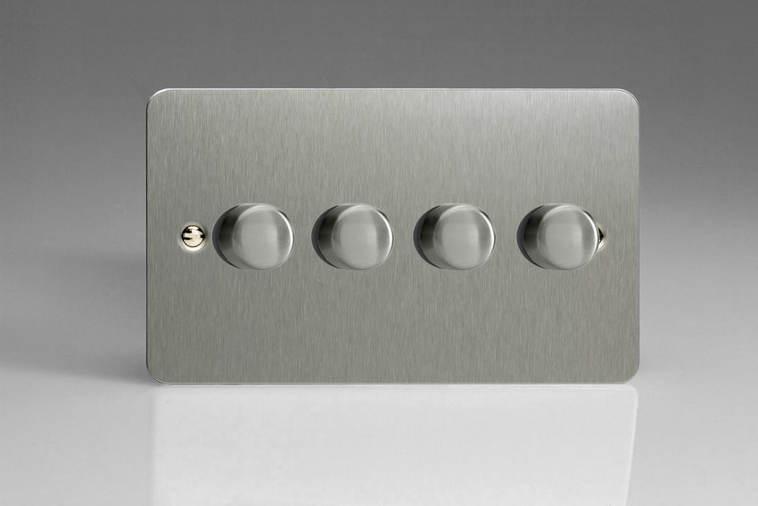 JFSDP254 Varilight V-Pro Series, 4 Gang, 1 or 2 Way,Push-On/Off Rotary LED Dimmer 4 x 0-120W (1-10 LEDs) (Twin Plate), Ultra Flat Brushed Steel