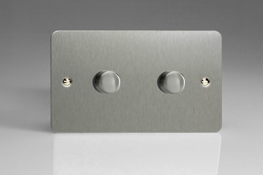 JFSDP402 Varilight V-Pro Series, 2 Gang, 1 or 2 Way, Push-On/Off Rotary LED Dimmer 2 x 0-120W (1-10 LEDs) (Twin Plate), Ultra Flat Brushed Steel
