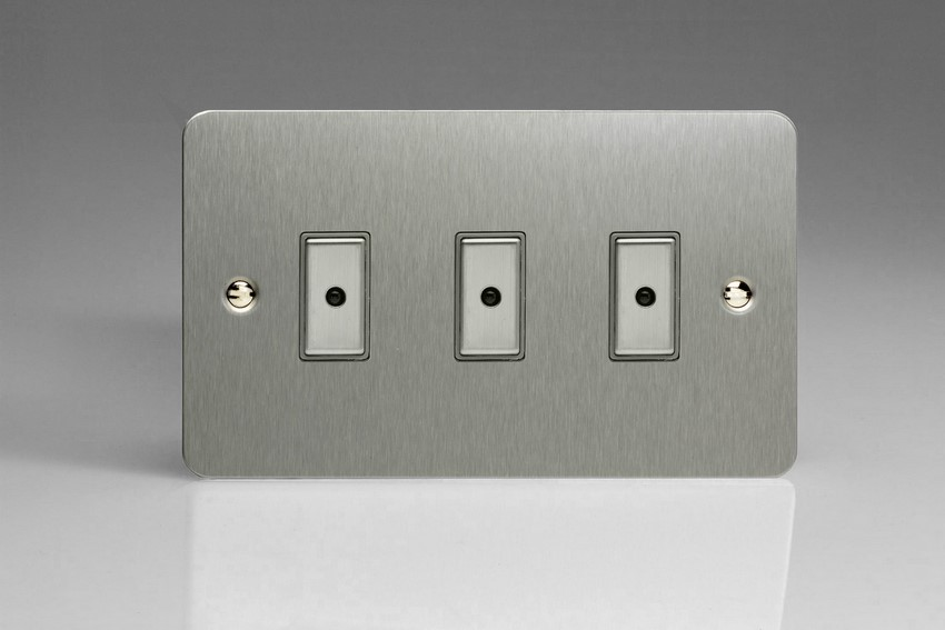 JFSE103 - Varilight V-Pro Series Eclique2, 3 gang Intelligent Programmable Master Dimmer, with Tactile Touch Button and Integrated Remote Control Sensor 0-100 Watts of LEDs (10 LEDs Max), Ultra Flat Brushed Steel