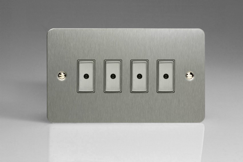 JFSE104 - Varilight V-Pro Series Eclique2, 4 gang Intelligent Programmable Master Dimmer, with Tactile Touch Button and Integrated Remote Control Sensor 0-100 Watts of LEDs (10 LEDs Max), Ultra Flat Brushed Steel