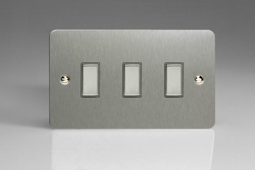JFSES003 - Varilight V-Pro Series Eclique2, 3 Gang Tactile Touch Button Slave Unit for 2 way or Multi-way Circuits Only, Ultra Flat Brushed Steel