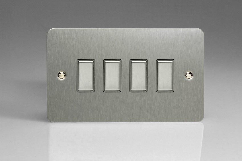Varilight V-Pro Multi Point Tactile Touch Slave (MP Slave) Series 4 Gang Unit for use with V-Pro Multi Point Remote Master Dimmers