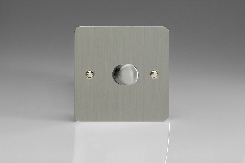JFSP401 Varilight V-Pro Series, 1 Gang, 1 or 2 Way, Push-On/Off Rotary LED Dimmer 1 x 0-120W (1-10 LEDs), Ultra Flat Brushed Steel