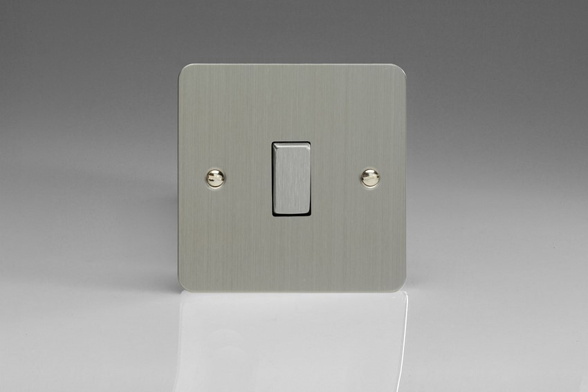XFS1D Varilight 1 Gang (Single), 1 or 2 Way 10 Amp Switch, Ultra Flat Brushed Steel