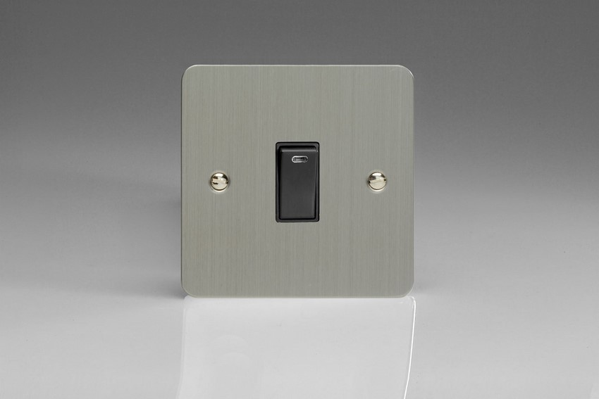 XFS20NB-SP Varilight 1 Gang (Single), 20 Amp Double Pole Switch with Neon, Ultra Flat Brushed Steel (Bespoke & Special)