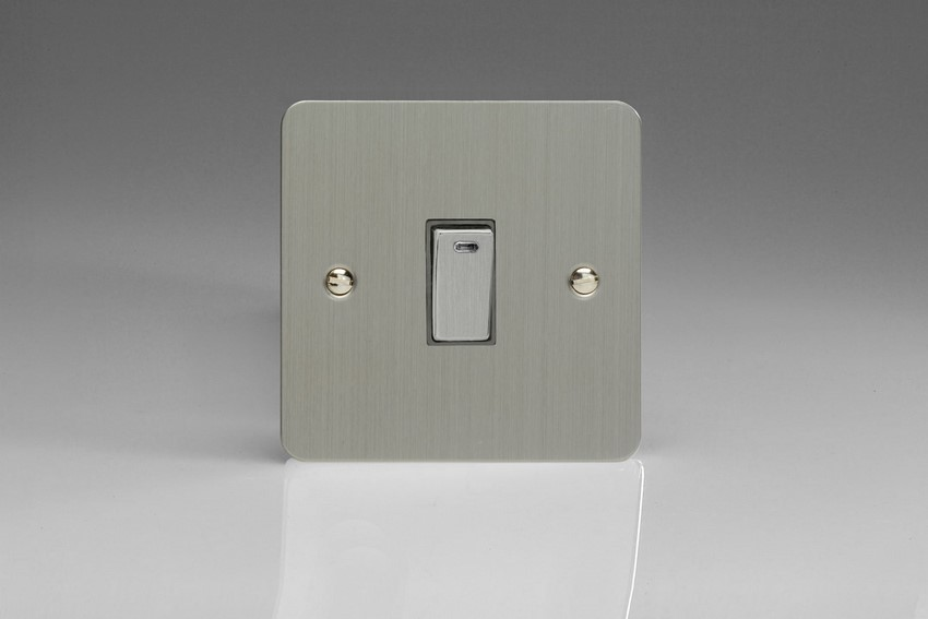 XFS20ND Varilight 1 Gang (Single), 20 Amp Double Pole Switch with Neon, Ultra Flat Brushed Steel