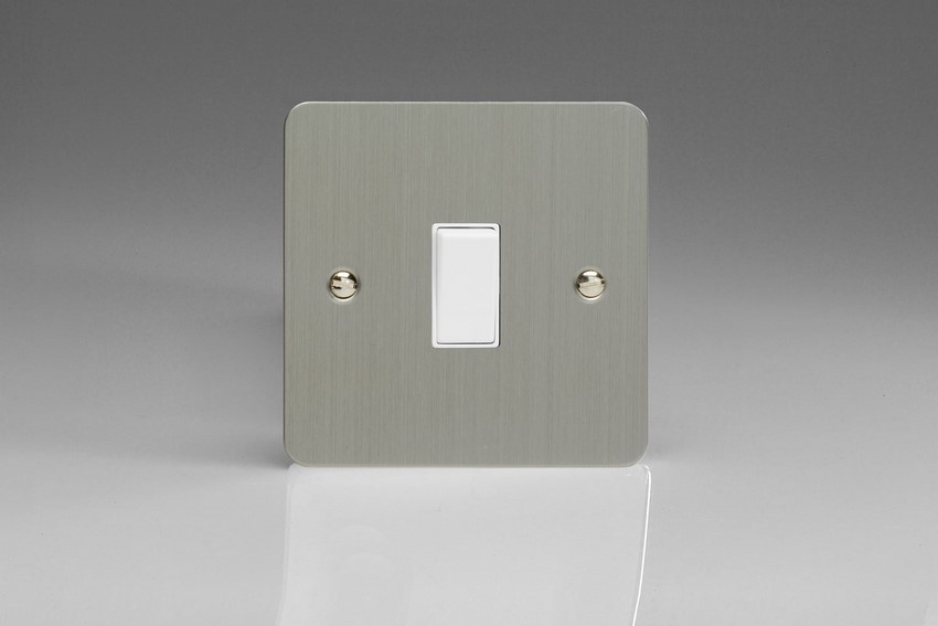 XFS20W-SP Varilight 1 Gang (Single), 20 Amp Double Pole Switch, Ultra Flat Brushed Steel (Bespoke & Special)