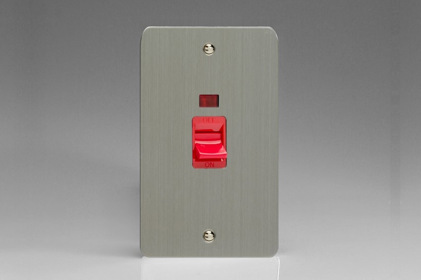 XFS45N Varilight 45 Amp Cooker Switch with Neon (Vertical Double Size), Ultra Flat Brushed Steel