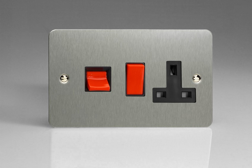 XFS45PB Varilight 45 Amp Cooker Panel with 13 Amp Switched Socket (Horizontal Double Size), Ultra Flat Brushed Steel