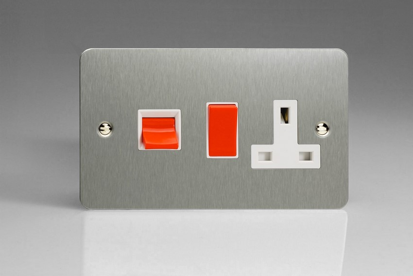 XFS45PW Varilight 45 Amp Cooker Panel with 13 Amp Switched Socket (Horizontal Double Size), Ultra Flat Brushed Steel