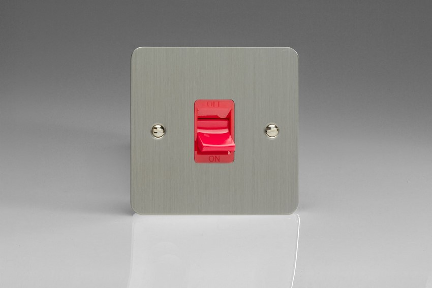 XFS45S Varilight 45 Amp Cooker Switch (Single Size), Ultra Flat Brushed Steel