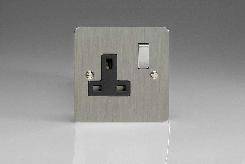 XFS4DB Varilight 1 Gang (Single), 13 Amp Switched Socket, Ultra Flat Brushed Steel