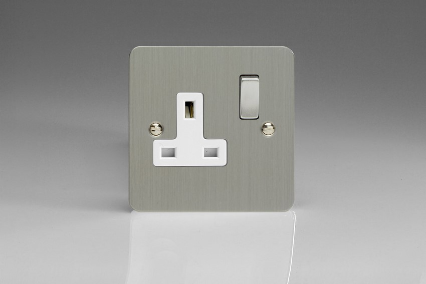 XFS4DW Varilight 1 Gang (Single), 13 Amp Switched Socket, Ultra Flat Brushed Steel