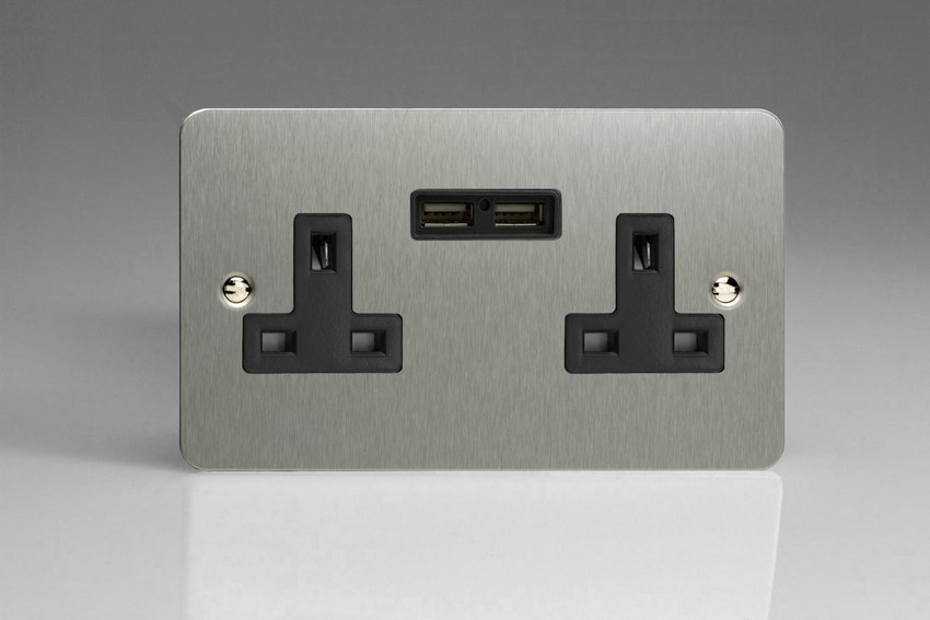 XFS5U2B Varilight 2 Gang, 13 Amp Unswitched Socket with 2 Optimised USB Charging Ports, Black Insert. Ultra Flat Brushed Steel Effect