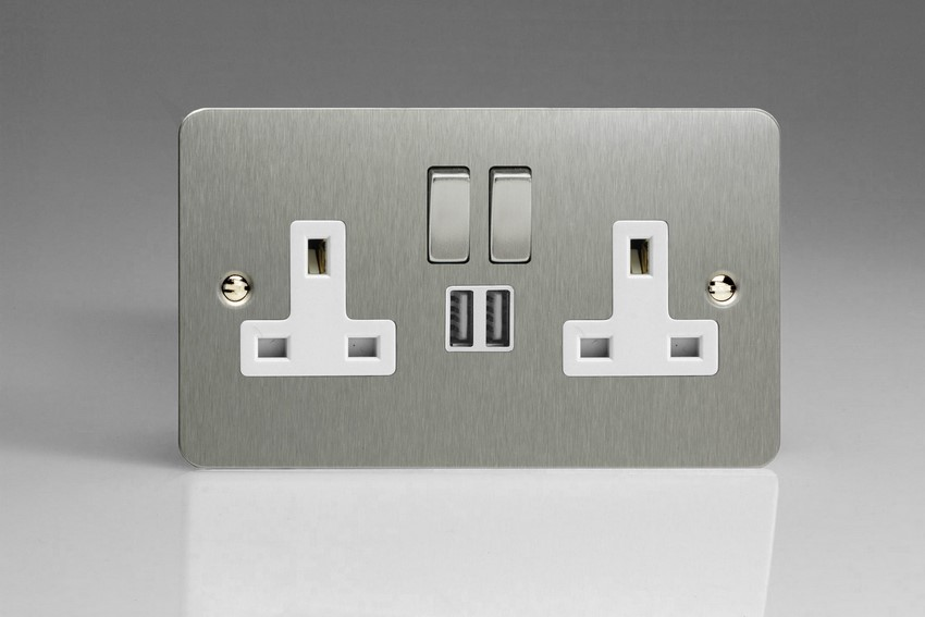 XFS5U2SDW Varilight 2 Gang 13A Single Pole Switched Socket + 2 x 5V DC 2100mA USB Charging Ports, White Insert & Brushed Steel Switches. Ultra Flat Brushed Steel Effect